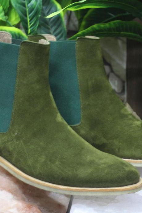 Handmade Ankle High Green Chelsea Suede Boots For Men's