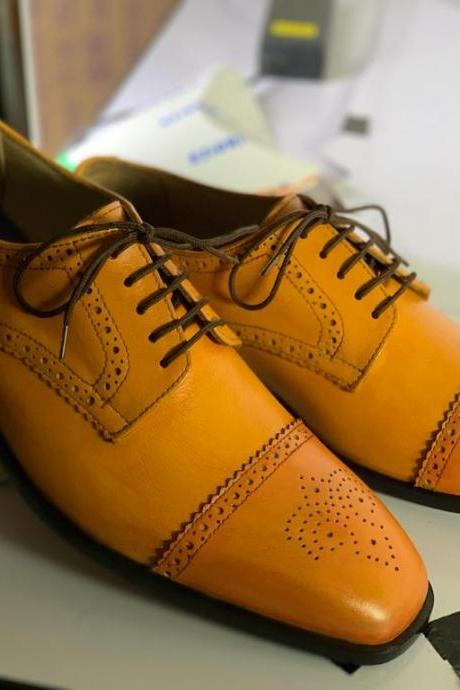New Handmade Tan Cap Toe Brogue Leather Lace Up Shoes For Men's