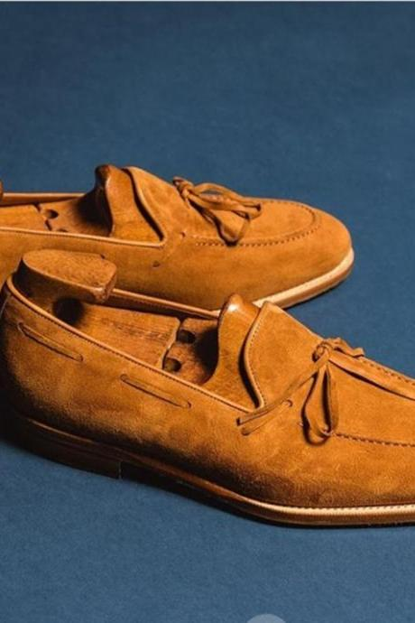 New Handmade Tan Tussles Suede Loafers For Men,s