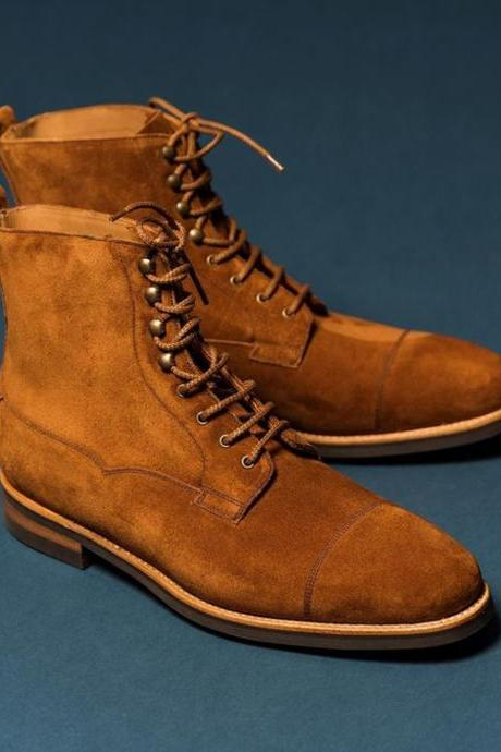 Handmade Ankle High Tan Cap Toe Suede Lace Up boots For Men,s