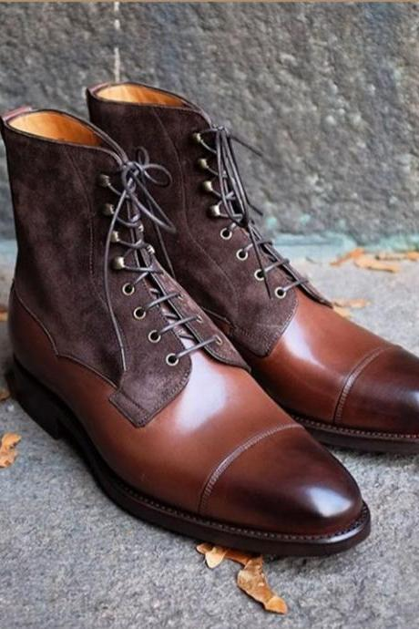 Handmade Ankle High Burgundy Cap Toe Leather Suede Lace Up Boots For Men's