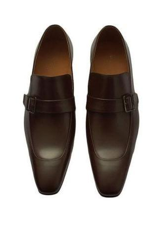 New Handmade Brown Round Toe Monk Strap Leather Shoes For Mens
