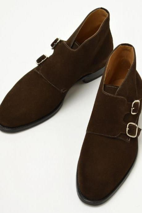 New Handmade Brown Round Toe Double Monk Steps Suede Shoes For Men's
