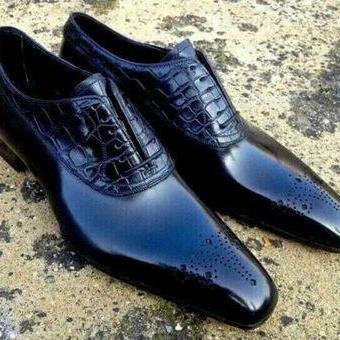 New Handmade Navy Blue Brogue Toe Leather Lace Up Shoes For Men's